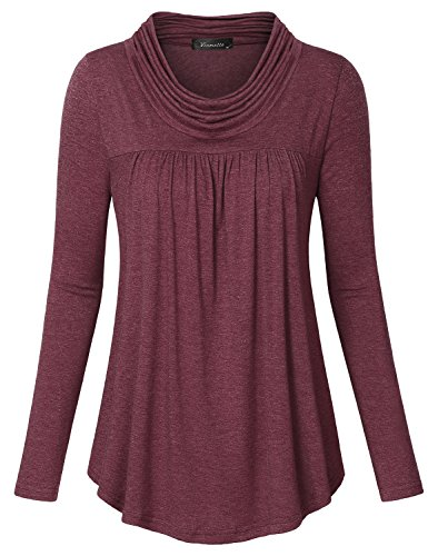 6466ecbe840 Vinmatto Women s Cowl Neck Long Sleeve Pleated Front Tunic Shirt. 0.  Design-the cowl neck keeps warm in the coming season