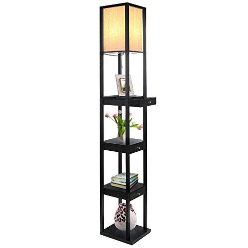 Classic Black Brightech Maxwell Led Drawer Edition Shelf Floor Lamp Modern