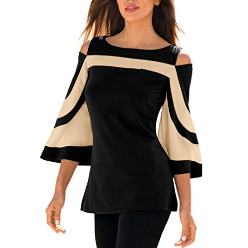 00f82f6b95d METFIT Women Cold Shoulder Long Sleeve T-Shirt Spring Summer Tops Blouse  Sweatshirt Mini Dress 2018