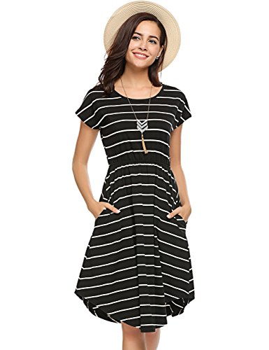 0cb960c6ad96 Halife Women's Summer Casual Stripe Elastic Waist Loose Beach Midi Dress