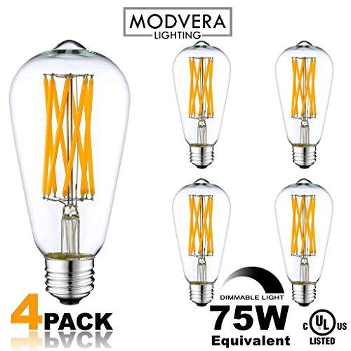 4 Pack Modvera 75w Equivalent Led Edison Bulb 8 Watt