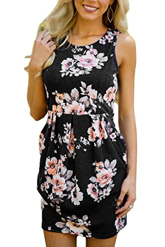 b81717a4ea4cb Dearlovers Women Sleeveless Casual Floral Short Tunic Dress With Pockets  Large Size Black