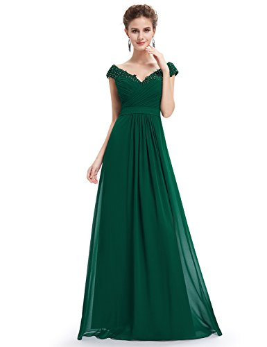 Ever-Pretty Womens Cap Sleeve Lace Neckline Ruched Bust Evening Gown ... 10be221fd