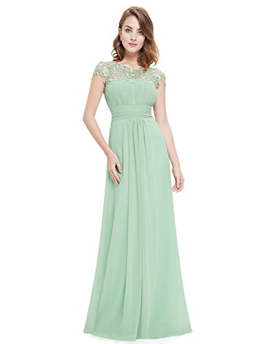 97c7206ec99 Ever-Pretty Womens Cap Sleeve Lace Neckline Ruched Bust Evening Gown ...