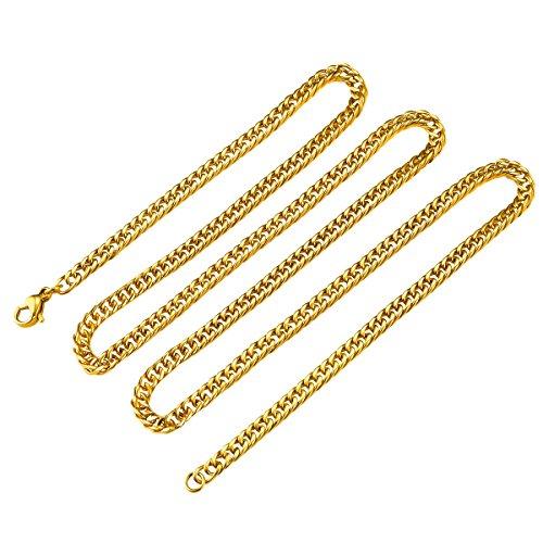 c09b3b003767b Three Keys Jewelry 3.5MM Mens Stainless Steel Necklace 18K Gold ...