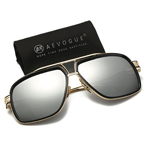 3a4a7f20ae AEVOGUE Sunglasses For Men Goggle Alloy Frame AE0336 Gold Silver