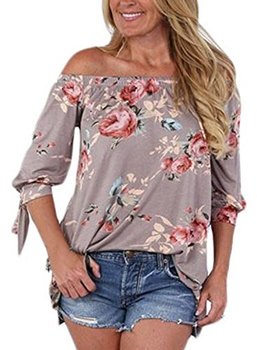 26a8dde8ddd302 AlvaQ Women Off Shoulder 3/4 Sleeve Cuffed Floral Print Tops 7 Colors, S-XXL