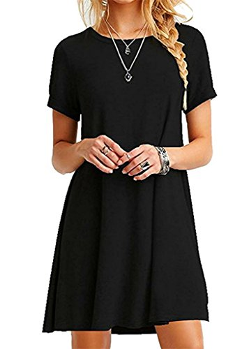 2c11d8f9243 Bestisun Women s Fall Casual Short Sleeve Simple Loose T-Shirt Dress