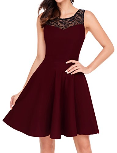 752b2ea61fca Newbely women sleeveless lace Floral Round Neck Vintage Retro Cocktail Dress  with Round Swing Hem. S: bust: 33. 46