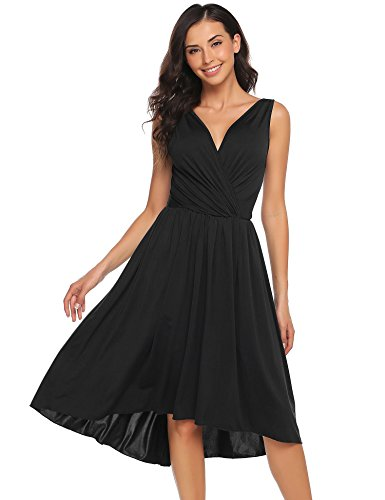 3a5cf9a2e69 ANGVNS Women s V Neck Sleeveless Faux Wrap A Line High Low Fit and Flare  Cocktail Dress
