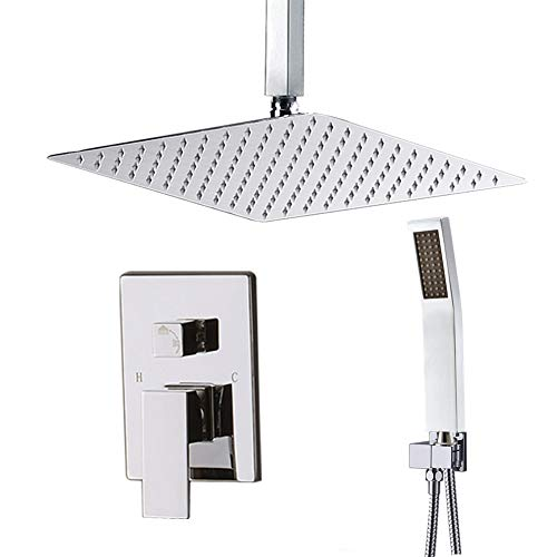 """Bathroom Brass Square Fixed Shower Head Shower Arm Ceiling Mount Chrome 4/""""-23.6/"""""""